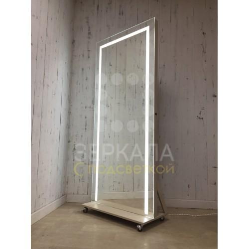 Гримерное зеркало 180х80 с LED подсветкой на подставке